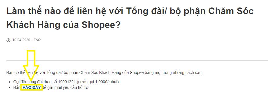 Trung tâm hỗ trợ khách hàng Shopee
