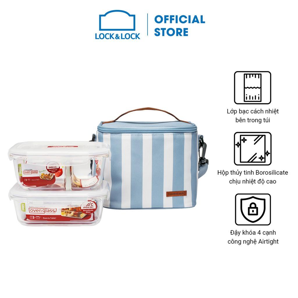 Bộ túi hộp cơm thủy tinh Lock&Lock 3EA – LLG428S2 (3 màu)