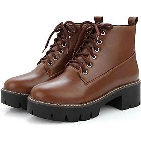 Boot nữ cổ ngắn cột dây đế thô GBN0303